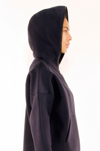 T BY ALEXANDER WANG SCUBA DOUBLE KNIT ZIP UP HOODIE WITH LEATHER TRIM_f0111683_12531219.jpg