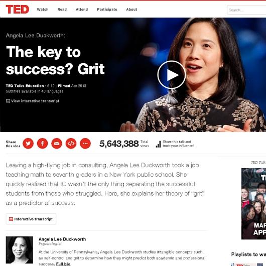 新年らしくポジティブなTEDビデオ「成功のカギは、やり抜く力」(The key to success? Grit)_b0007805_23414724.jpg
