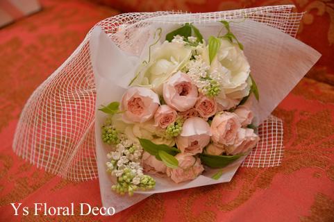 カップ咲のバラとライラックのブーケ ホテルミラコスタさんへ_b0113510_15482818.jpg