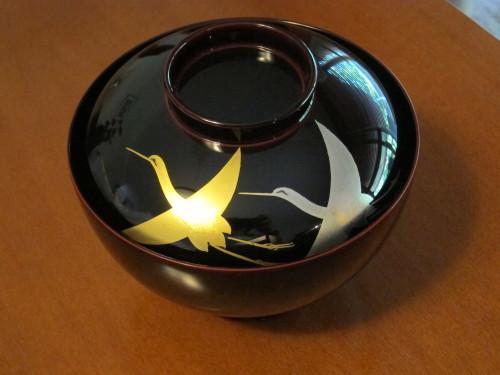 日本橋で買ってきた漆のお椀で、今年のお雑煮・・_d0240098_22322135.jpg