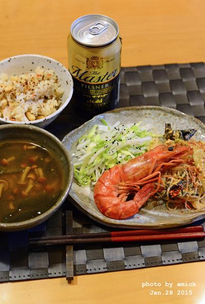 1月29日 木曜日 赤海老のガーリックソテー&そば米入り五目炊き込みご飯_b0288550_11141732.jpg