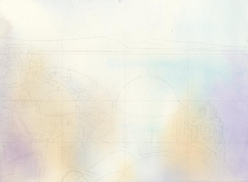 建物のある風景 水彩画_f0176370_1342751.jpg