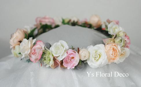 二次会の花冠 白とピンクとシャンパン色_b0113510_2013774.jpg