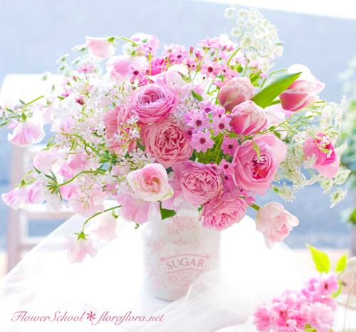 2月になりました 早春ピンクのアレンジメント 東京目黒不動前フローラフローラ花の教室1月のレッスンから_a0115684_02400399.jpg