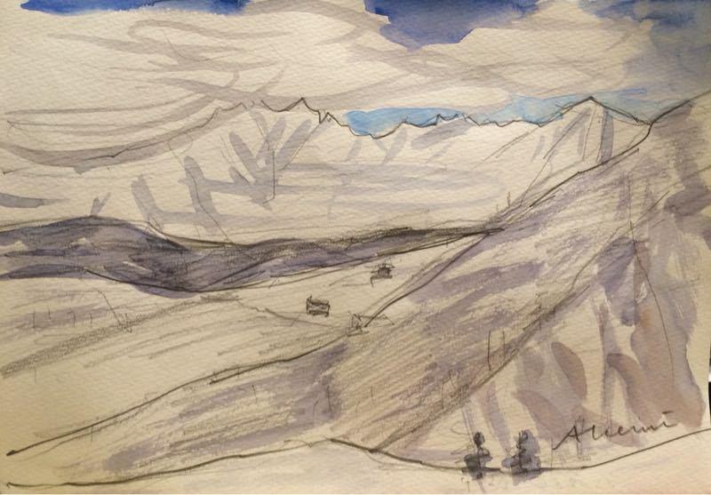 白馬の雪景色(水彩画)、他、水彩画三枚_e0233674_18133720.jpg