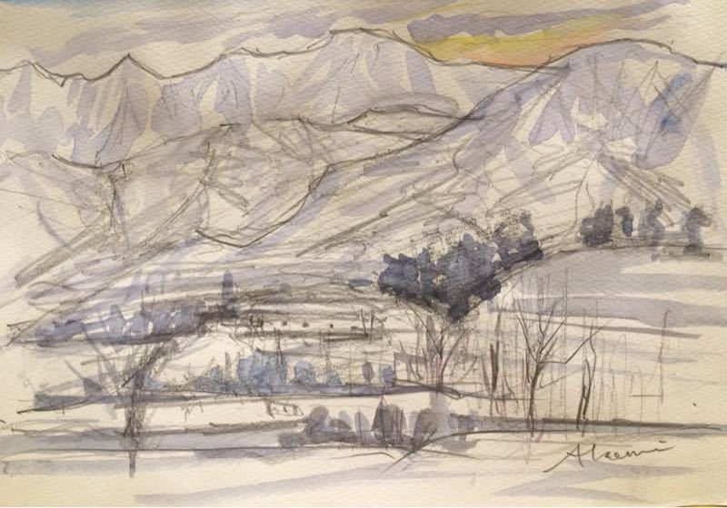 白馬の雪景色(水彩画)、他、水彩画三枚_e0233674_1813379.jpg