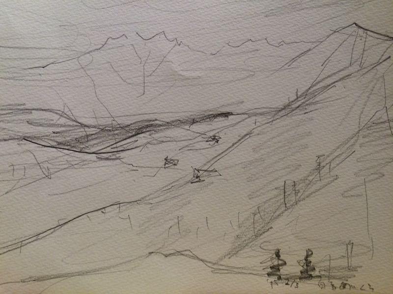 白馬の雪景色(水彩画)、他、水彩画三枚_e0233674_18134254.jpg