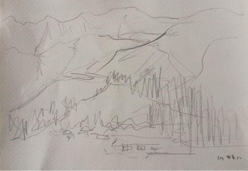 白馬の雪景色(水彩画)、他、水彩画三枚_e0233674_18134417.jpg