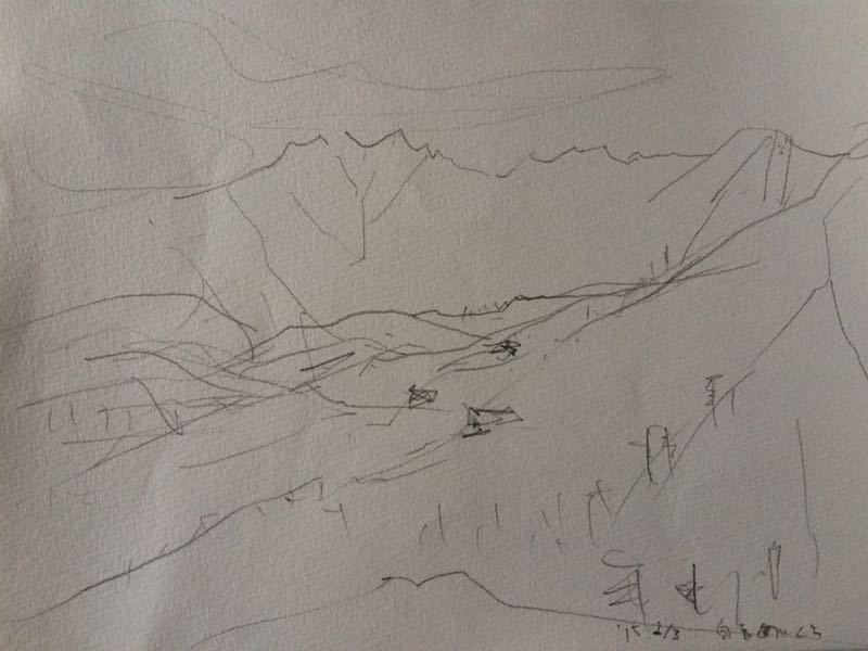 白馬の雪景色(水彩画)、他、水彩画三枚_e0233674_18134514.jpg