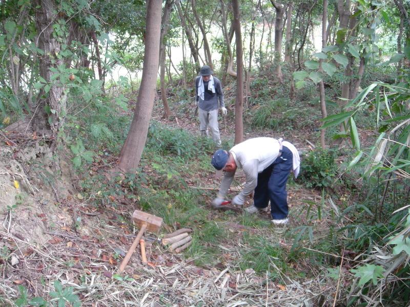 山道の階段補修  in  うみべの森_c0108460_02191642.jpg