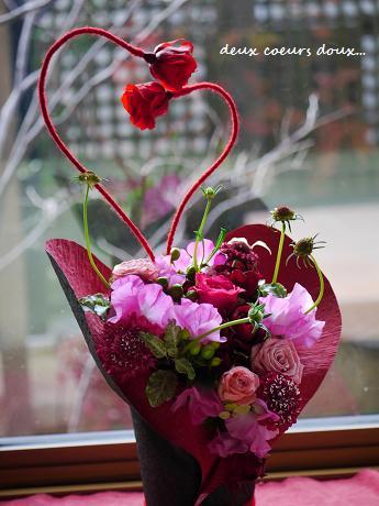 聖バレンタインデーは愛の日☆寄り添うハートの想い愛アレンジメント_c0098807_20265797.jpg