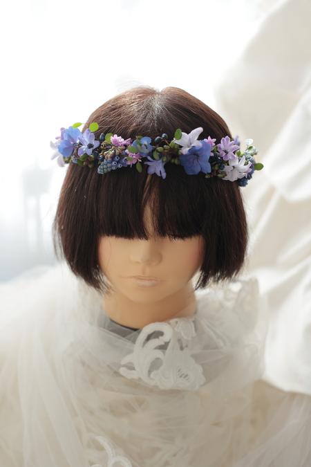 深い青の小花の花冠 リストランテASO様へ_a0042928_13115534.jpg
