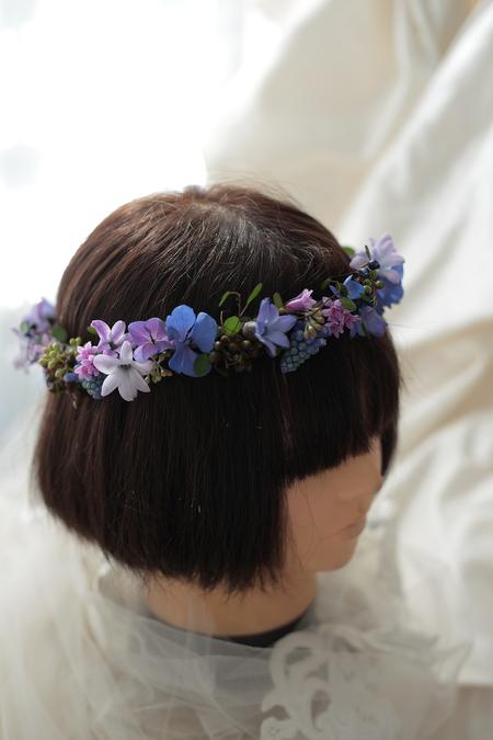 深い青の小花の花冠 リストランテASO様へ_a0042928_1312648.jpg