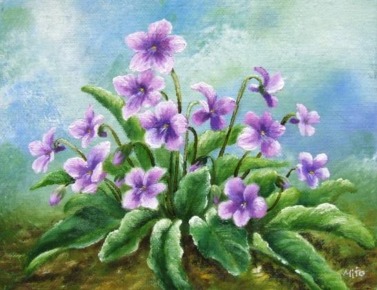 菫の油絵_b0089338_22301591.jpg
