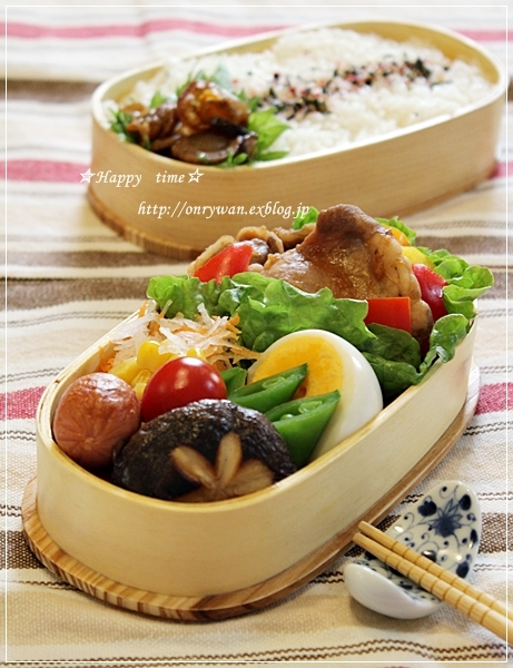 豚の生姜焼き弁当と小さなお客様と晩御飯♪_f0348032_18415190.jpg