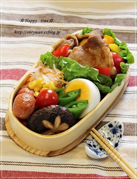 豚の生姜焼き弁当と小さなお客様と晩御飯♪_f0348032_18420019.jpg