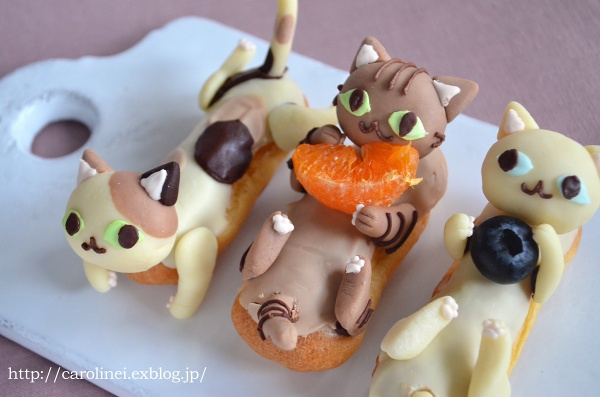 猫の日の猫エクレア Homemade cat éclair for Japanese Cat Day_d0025294_19391777.jpg