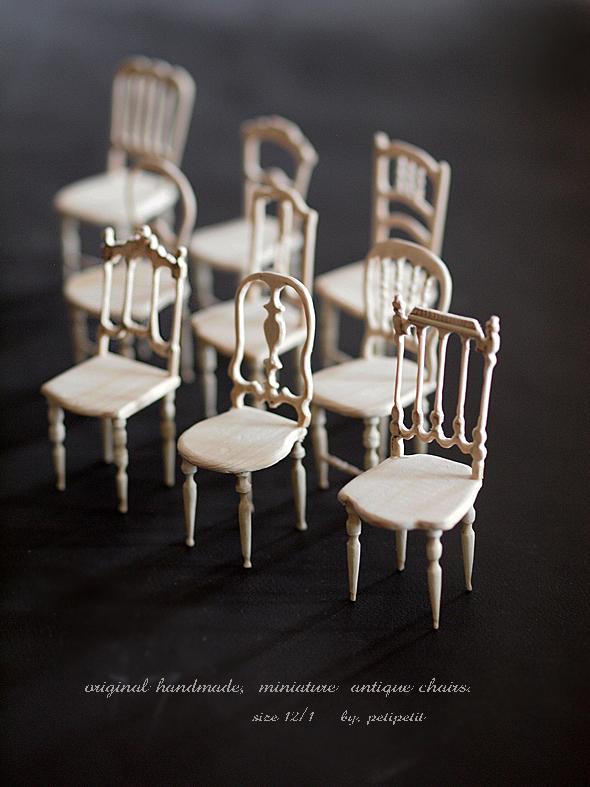 miniature* アンティーク風な椅子たちと、花粉症_e0172847_16302183.jpg