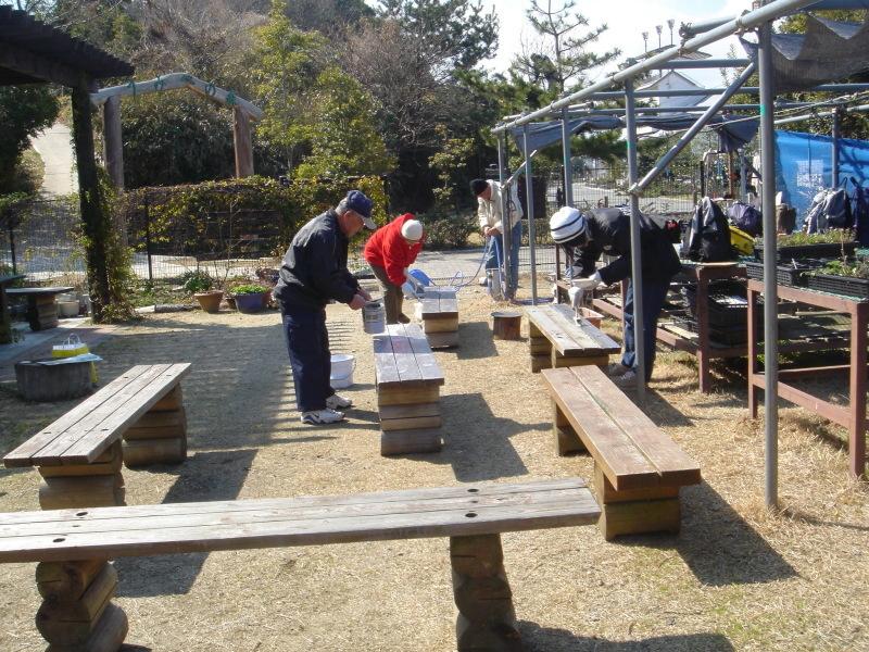 テーブル&ベンチの防腐剤塗付   in  うみべの森_c0108460_00165190.jpg