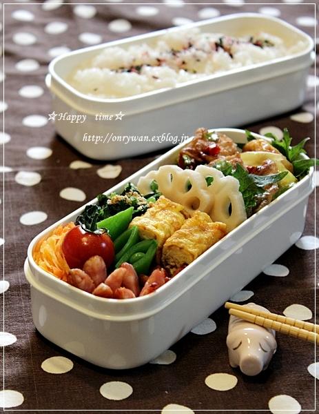 豚肉キャベツ油揚げでピリ辛甘味噌弁当とバターロールサンド♪_f0348032_17483502.jpg