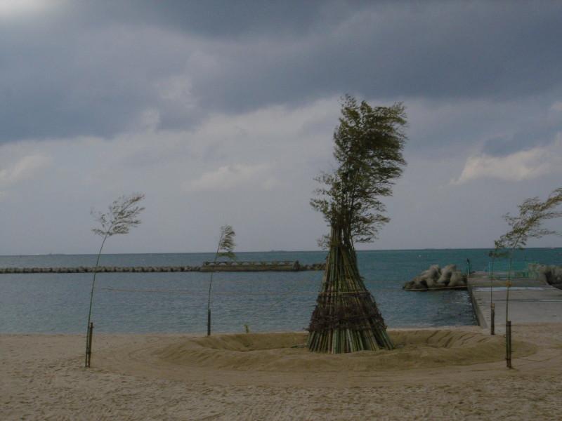 「とんど」組立・・・せんなん里海公園淡輪海水浴場_c0108460_22335295.jpg