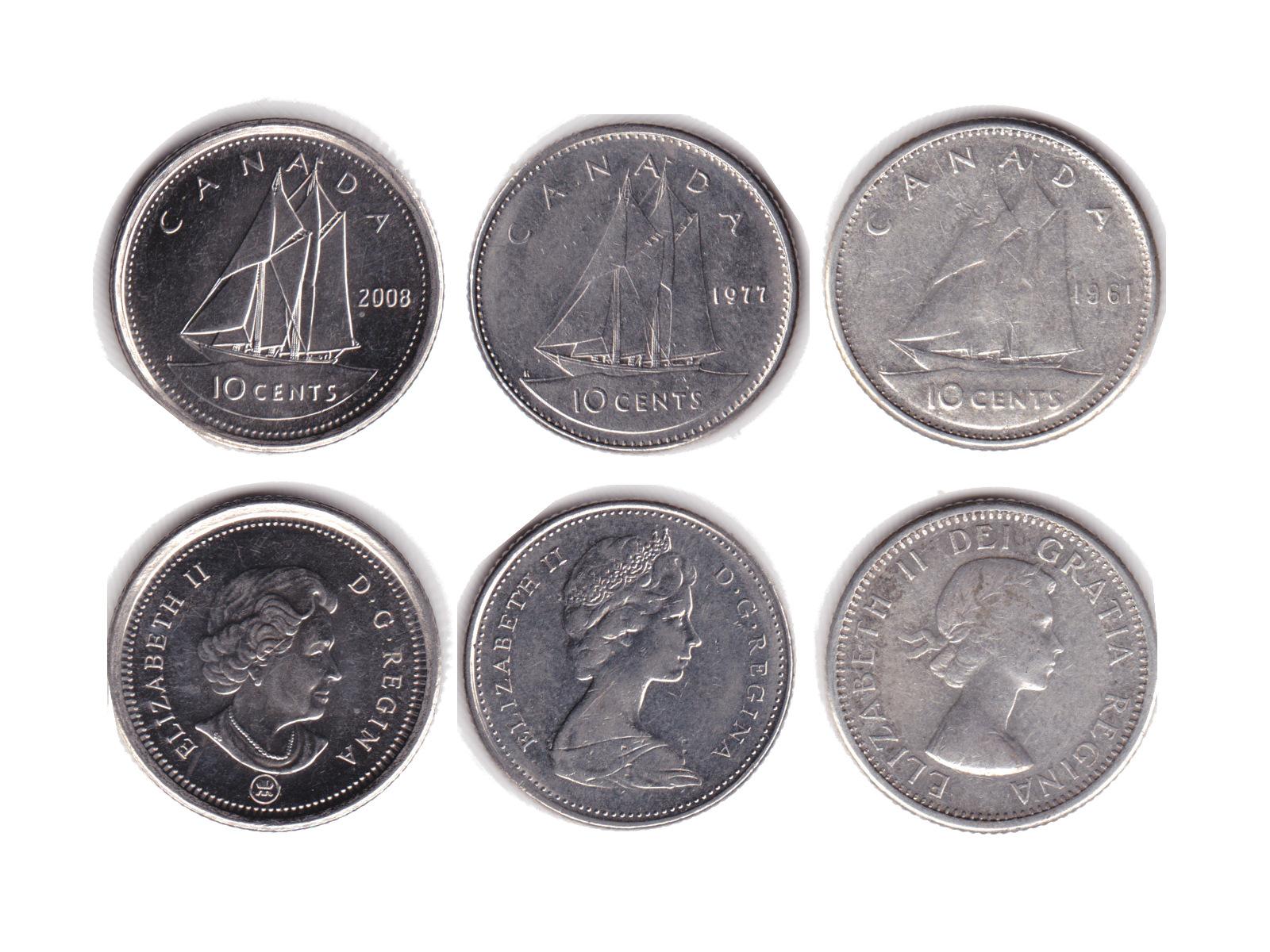 カナダ10Centsコイン エリザベス女王の肖像に注目_c0027285_11185016.jpg