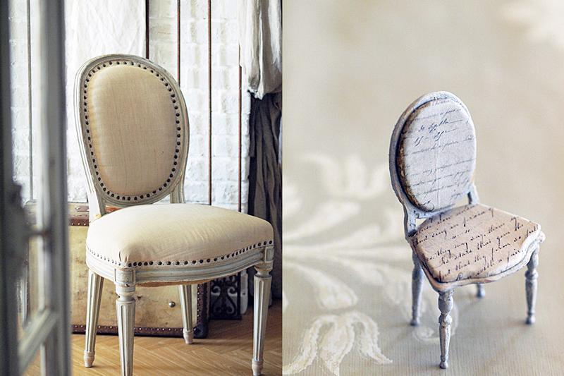 miniaure* 椅子  アンティークファブリックと、レリーフ_e0172847_09471444.jpg