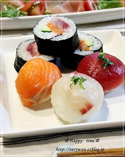 海苔つくね丼弁当と手まり寿司♪_f0348032_18054981.jpg