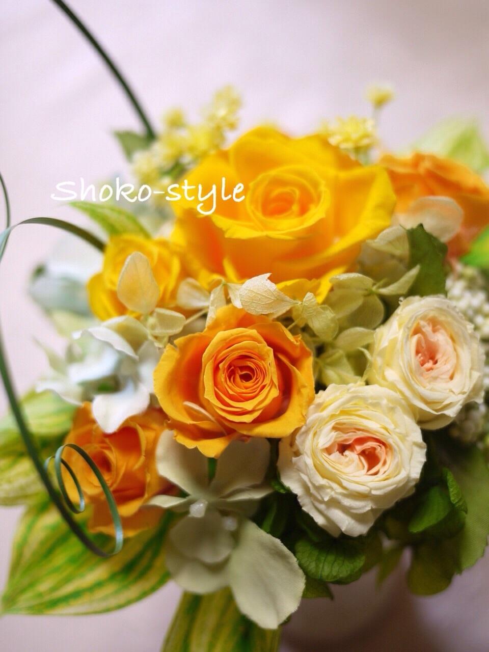 春のアレンジメントは黄色で_a0135999_14440007.jpg