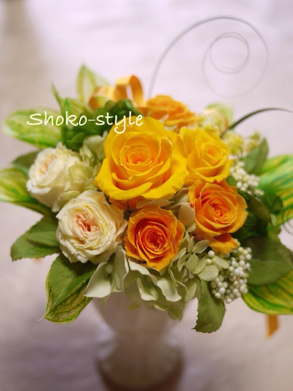 春のアレンジメントは黄色で_a0135999_14453379.jpg