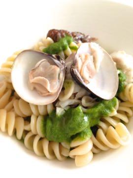 料理教室 2015年3月  えんどう豆のガレット 土佐文旦とウドのサラダ 蛤と鯛のパスタ_e0134337_19565635.jpg