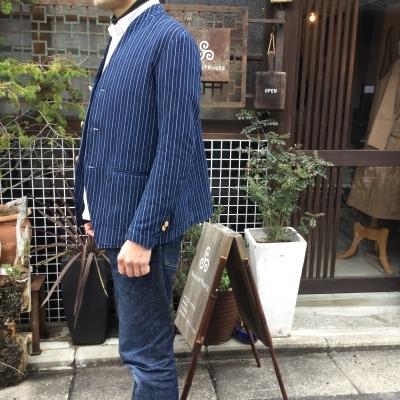 aseedoncloud アシードオンクラウド missionary jacket indigo stripe _e0248492_18384797.jpg