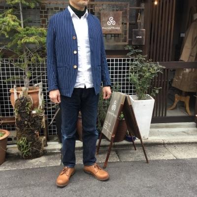 aseedoncloud アシードオンクラウド missionary jacket indigo stripe _e0248492_18391168.jpg
