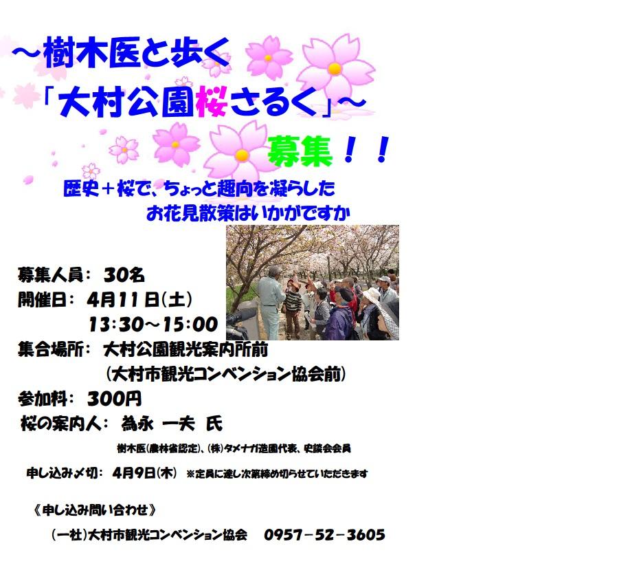 """樹木醫和走路的""""大村公園櫻花saruku"""""""