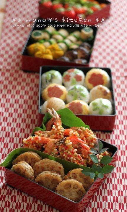 食べやすい手まり風のおにぎりとさくさく揚げがおいしそう!manaさんのお花見&行楽お弁当