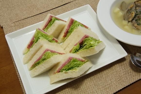 青豆ごはん和風弁当&朝食は、ハムサンド。_c0326245_09283392.jpg