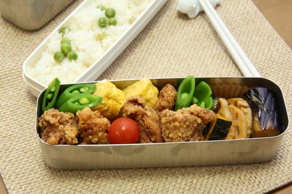 青豆ごはん和風弁当&朝食は、ハムサンド。_c0326245_09291076.jpg