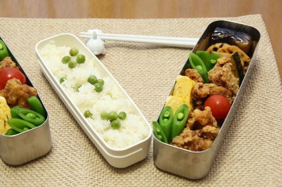 青豆ごはん和風弁当&朝食は、ハムサンド。_c0326245_09294104.jpg