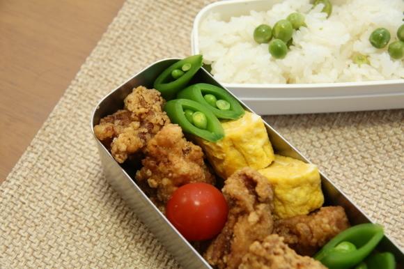 青豆ごはん和風弁当&朝食は、ハムサンド。_c0326245_09302751.jpg