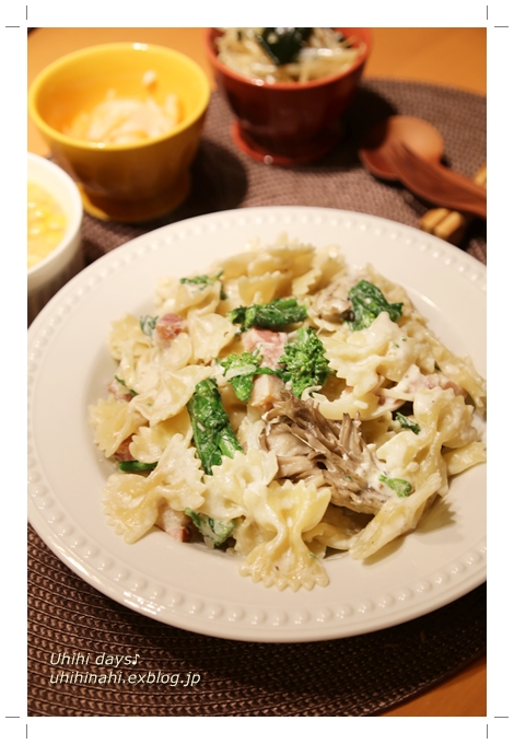 菜の花とベーコンのファルファッレ チーズクリームソース_f0179404_20181958.jpg