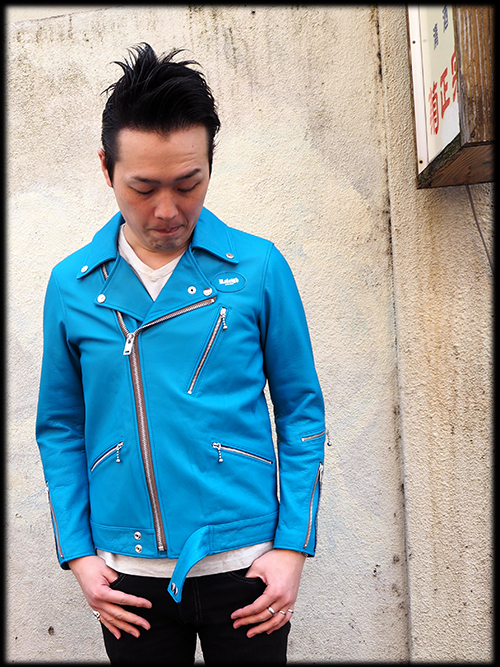 "MOTORCYCLE ""REBEL CLOTH"" LEATHER JACKET REBEL BLUE 入荷しました_e0325662_14465748.jpg"
