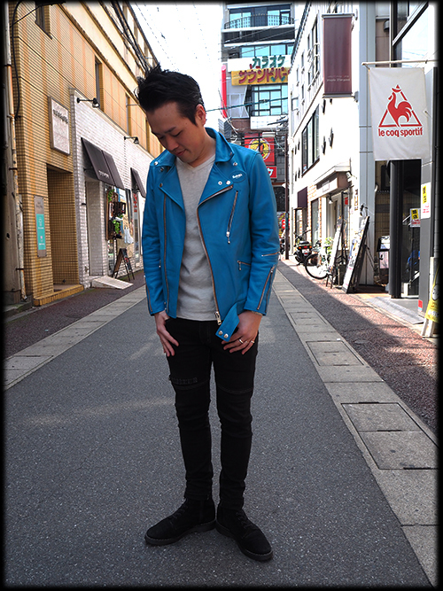 "MOTORCYCLE ""REBEL CLOTH"" LEATHER JACKET REBEL BLUE 入荷しました_e0325662_14471201.jpg"