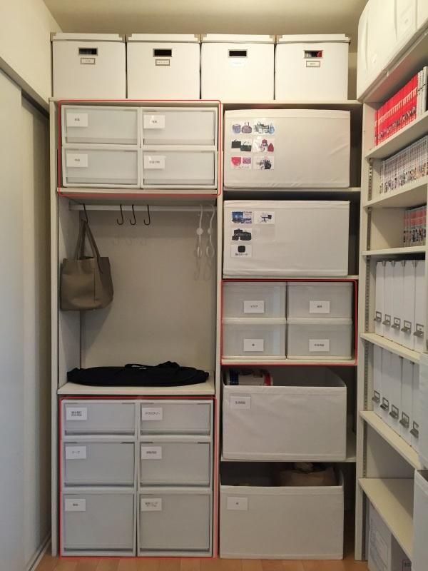 上部の棚→プーさん、カゴ・無印の収納ケース(ポリプロピレン収納ケース・引出式・横ワイド・深とポリプロピレン収納ケース・引出式横ワイド・大)