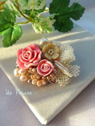 「ピンク色の花束」~ブローチ_a0142642_932384.jpg