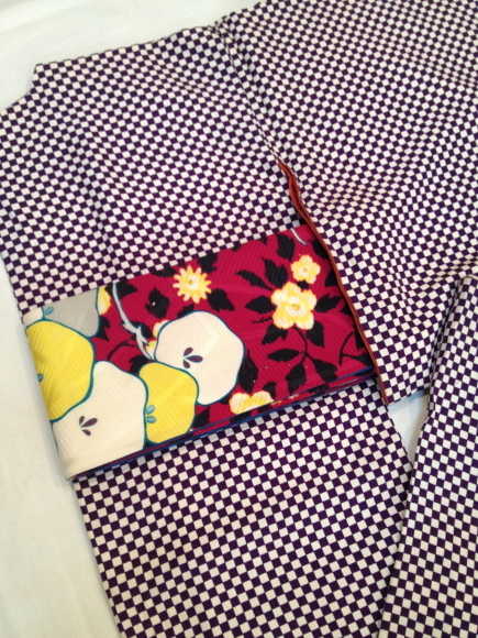 明日より♪カジュアル着物♪チョウチョ・チェック・市松♪販売商品34_c0321302_22220747.jpg