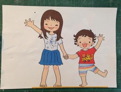お姉ちゃんと弟 制作過程2_f0072976_2302416.jpg