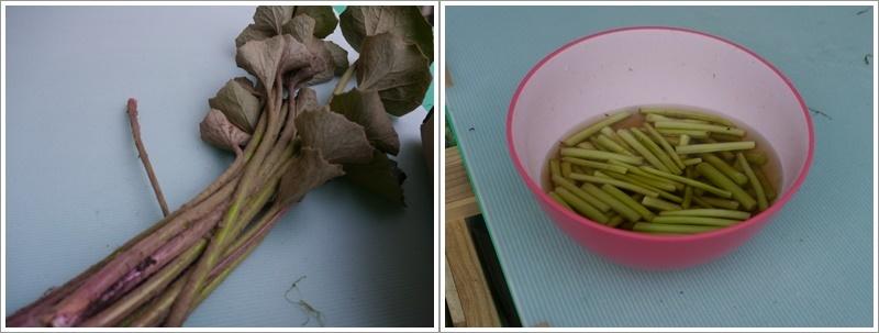 庭で採れたツワブキ、子供の頃を思い出して下ごしらえ、灰汁で真っ黒になったけど美味しかったで~す\(>∀<)/_b0175688_21425401.jpg