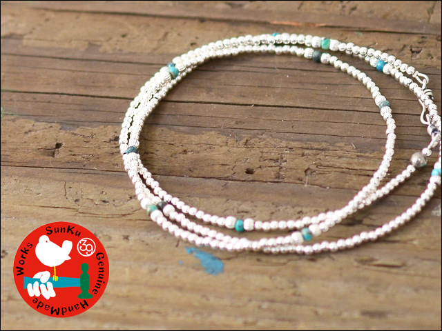Sunku 39 [サンク] SMALL BEADS LONG NECKLACE & BRACELET SILVER&TURQUOISE [SK-112]_f0051306_18161413.jpg