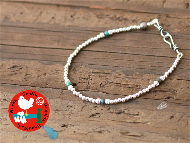 Sunku 39 [サンク] SMALL BEADS BRECELET SILVER&TURQUOISE [SK-119]_f0051306_18373613.jpg