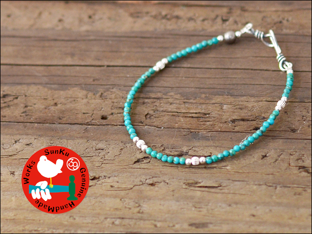 Sunku 39 [サンク] SMALL BEADS BRECELET TURQUOISE & SILVER[SK-117] _f0051306_18431774.jpg